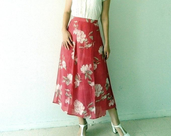 Pink floral skirt 90s/90's pink skirt