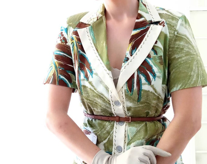 Vintage Blouse 1990's embroidered printed tropical leaves style 40s // Vintage 1990's embroidered tropical leaves shirt