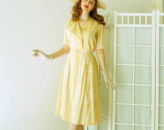 Yellow Gold striped dress years 1950/1950 's stripe yellow golden dress