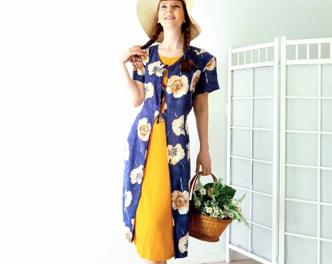 Vintage floral dress sunflower 1990's style 70s // Vintage 1990's does 70's floral sunflower dress