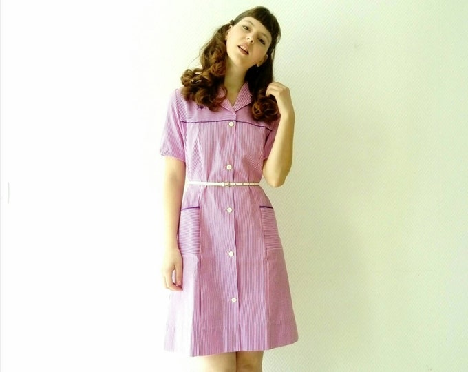 Robe tablier à rayure rose vintage style années 40 /40's style pink stripe dress
