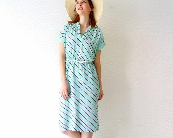 Striped dress 1970/1970 's stripe dress