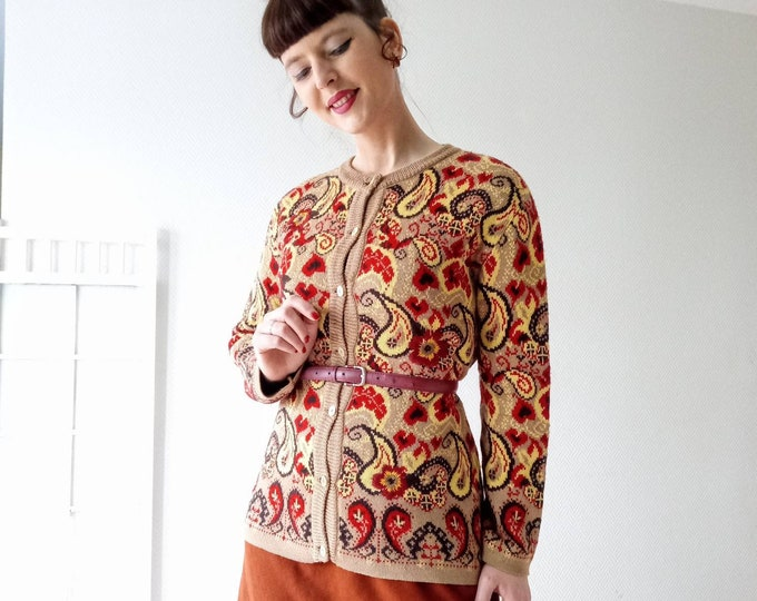 Retro embroidered flowers jacket Alain manoukian //Retro Alain Manoukian embroidered flowers cardigan
