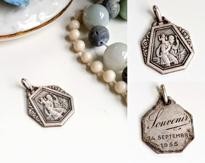 1950's Medal St. Christopher's pendant and the child Jesus //1950's Saint Christopher and the Child Jesus during