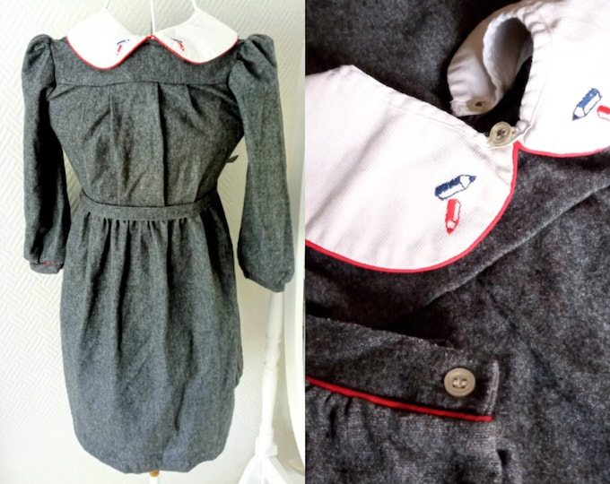 Winter dress 1980s wool embroidered collar girl 8/9 years //1980's winter wool embroidered collar dress for 8/9 years girl