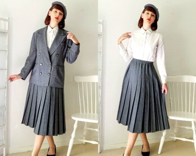 Tailor set grey 80's style 50 //1980's does 50's grey skirt follows