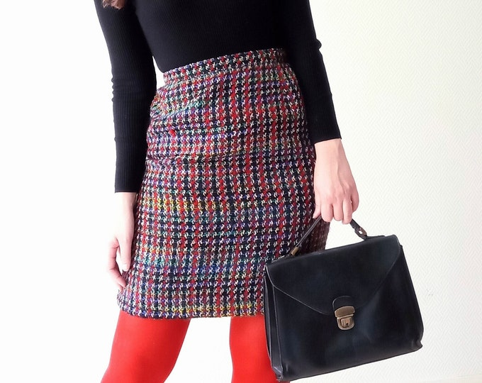 Vintage 1980's multicolored wool skirt 1980's does 60's multicolored knitted skirt