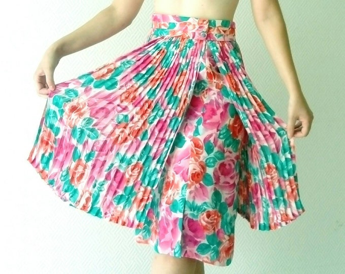 Pleated floral print skirt 80s /1980's floral pleated skirt