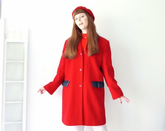 Vintage coat 1990's CA red style 60s // Vintage 1990's CA does 60's red coat