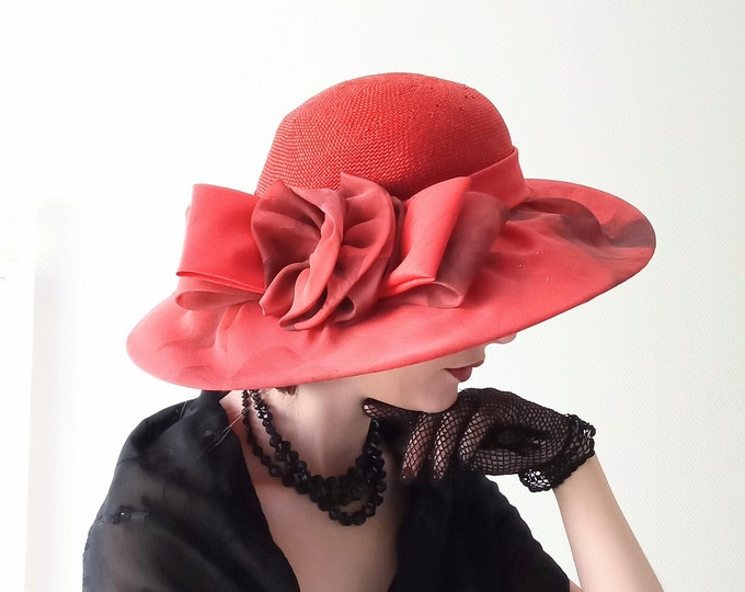 1980's style 60s hat capeline red vintage wicker chiffon // Vintage 1980's does 60's red chiffon & straw red capeline hat