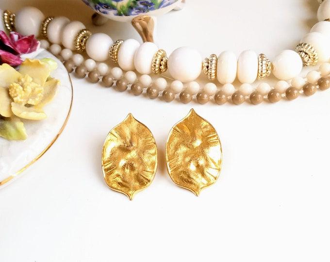 Earrings clips autumn 1980's autumn leaf earrings