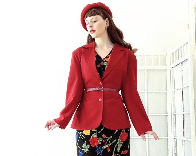 Adjustable red vintage jacket 1990's // 1990's vintage adjustable red jacket
