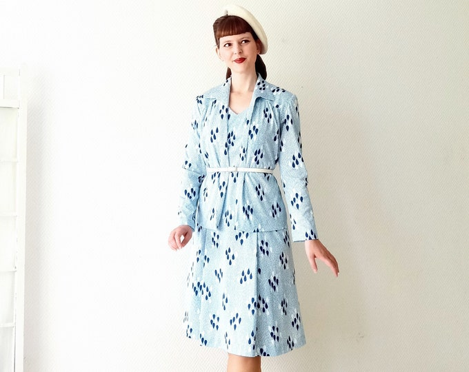 Dress and its vintage jacket 1980's style 30's style 30's print dress and vest