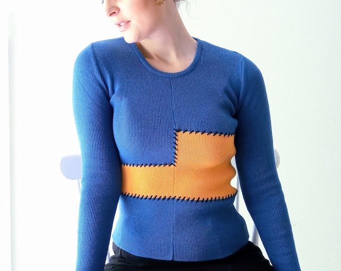 Vintage sweater 1960's deadstock patchwork // Vintageddeadstock 1960's patchwork jumper