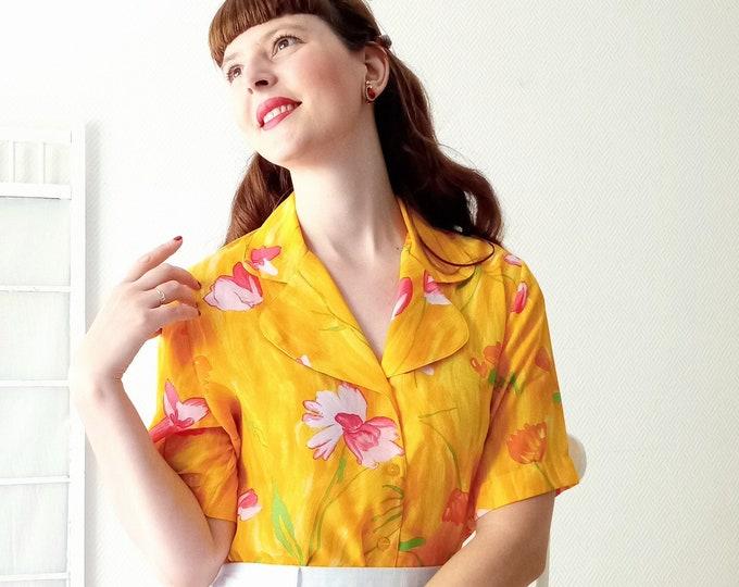 Vintage blouse 1990's PIERBE orange fleuri // Vintage 1990's PIERBE orangefloral shirt