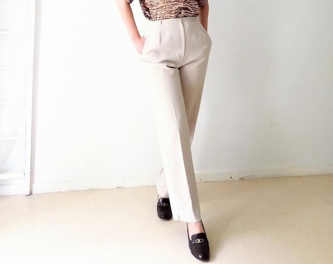 Vintage 1990's beige style 40s/ Vintage 1990's does 40's beige pleated pants