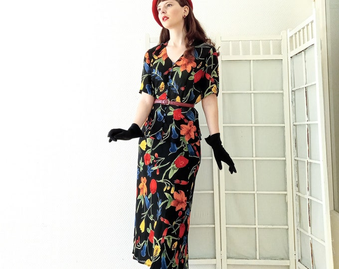 Set skirt 1990's vintage floral style 30s// Vintage 1990's does 30's floral skirt and blouse suit
