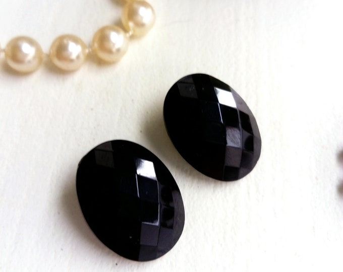 Earrings black oval years 50-60/50 ′s/60 's black oval earrings