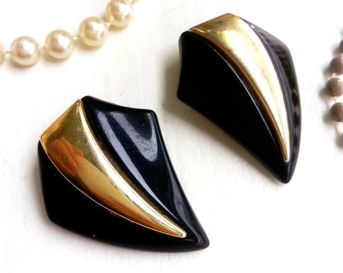 Black quadrilateral earrings 1980s/1980s ' s quadrilateral black earrings