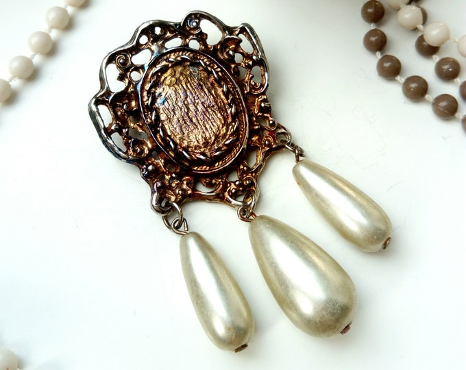 Brooch dangling beads drops 70s/1970s ' s drop pearls brooch