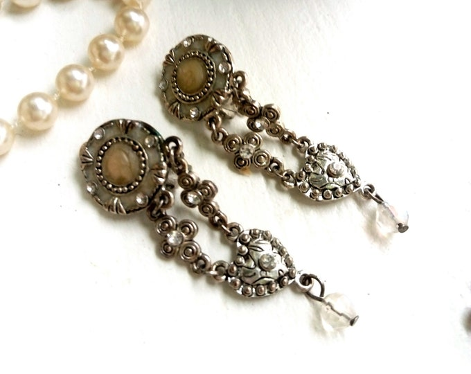 Pearl Heart pendant earrings 1970/1970 's heart mother of pearls dangling earrings