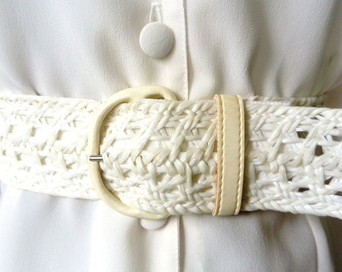 White belt raffia 70s/70's raffia white belt