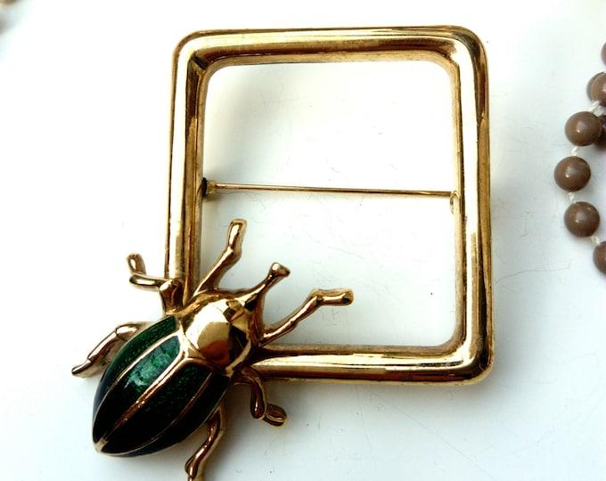 Golden beetle brooches 80s/ 80's golden beetle brooch