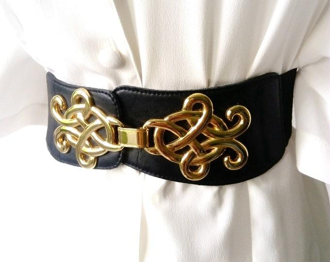 Elastic black belt clasp jewelry 70s/70's black elastic jewelry clasp belt