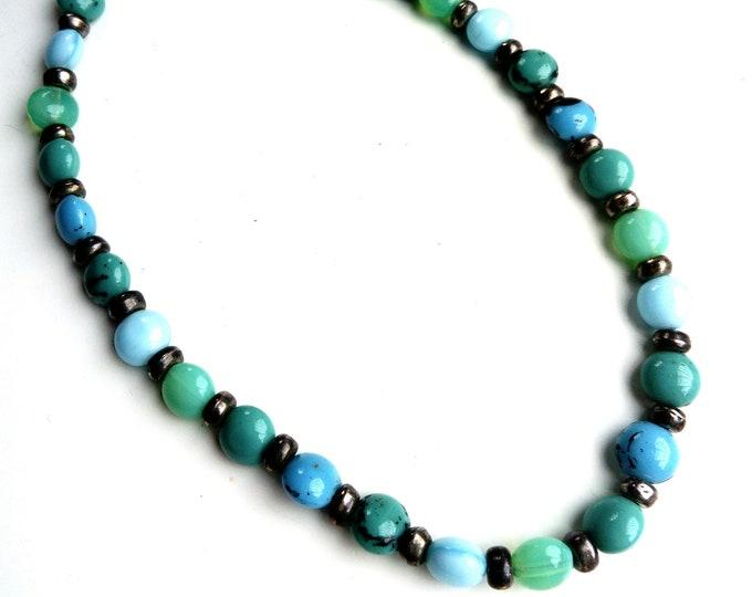 hippy chic necklace SCOOTER Paris blue neck turn //Blue boho SCOOTER PARIS choker necklace