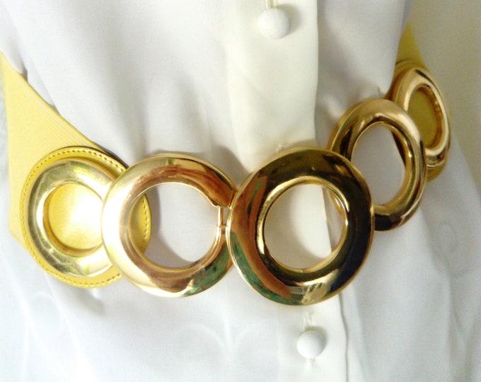 Ring disco loop gold circles 70s/1970's disco golden circle buckle belt