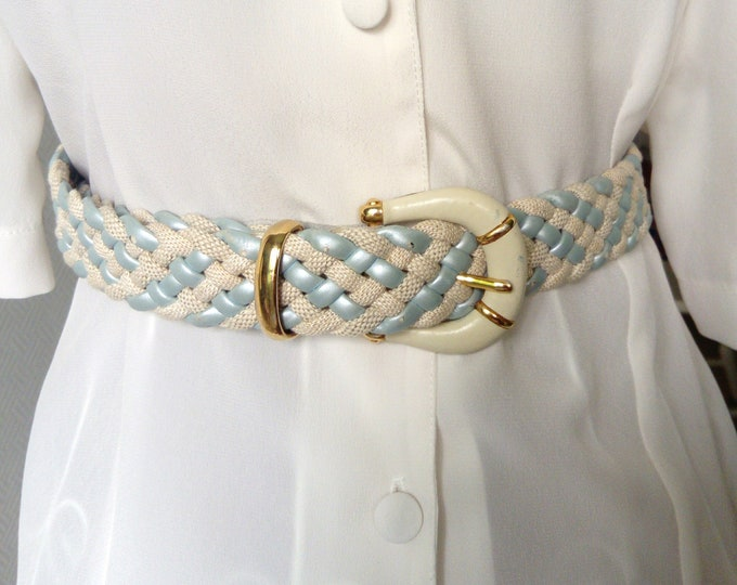 70s/ 70's leather plaited Belt braided belt