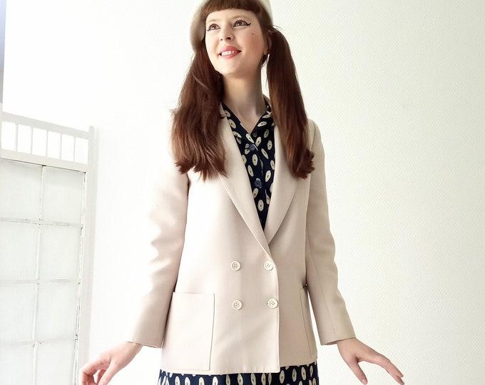 Vintage half-season beige jacket 70s// 1970's vintage half-season beige jacket