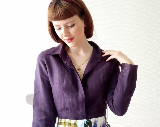 purple plum blouse embroidered vintage 90s// 1990's vintage embroidered plum purple shirt