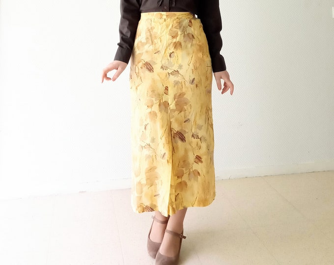 Vintage yellow leaf skirt fall 1990's style 50//Vintage 1990's does 50's yellow leaves fall skirt