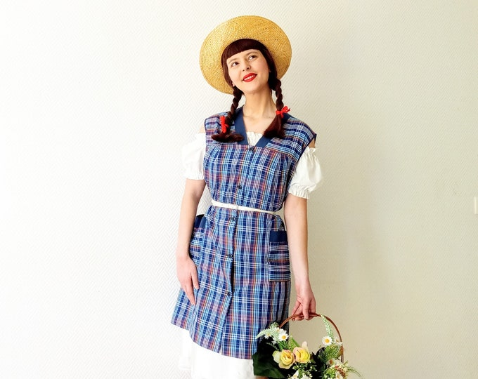 Vintage dress has 80s madras tiles //1980's vintage plaid madras apron dress