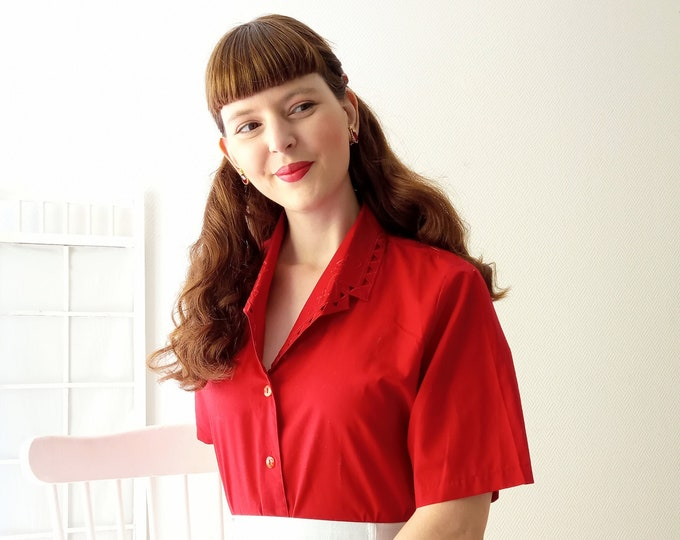 vintage blouse 1990's red embroidered collar // Vintage 1990's emroidered collar red shirt