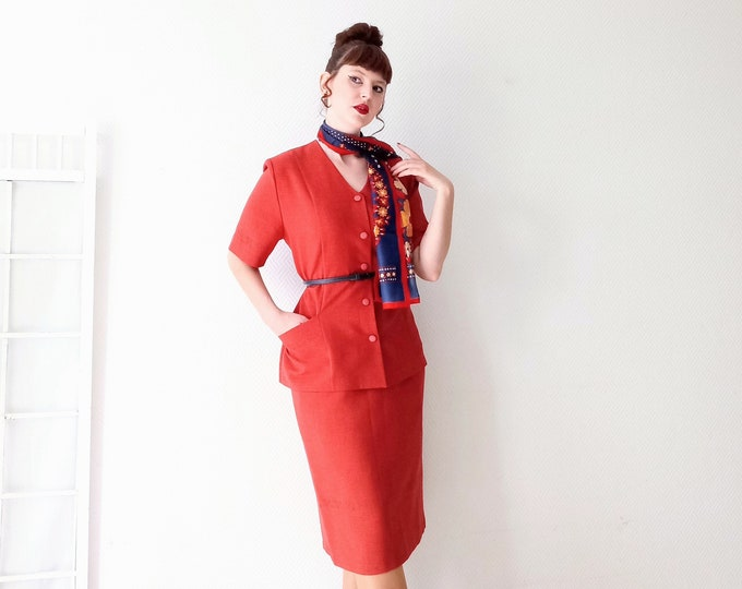 Vintage 1990's style 50s// Vintage 1990's does 50's summer red skirt suit