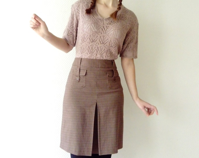 Jupe pied de poule style 70's/70's style houds tooth skirt