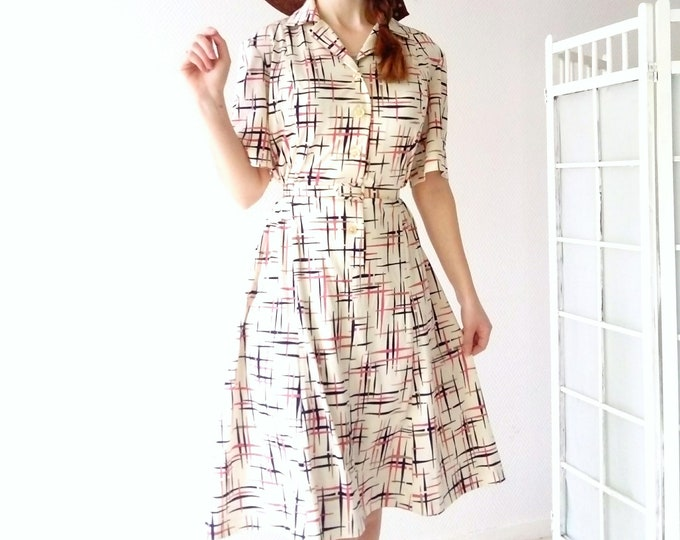 Dress geometric style 40's / 40's style geometric dress