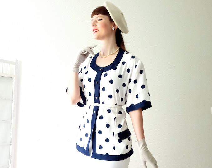 Vintage 1980's blue dots on white background shirt