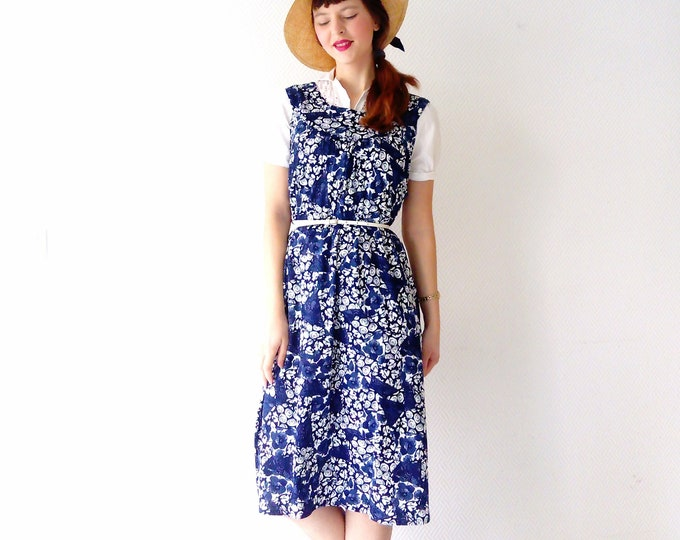 Blue Floral dress Style 40's / 40s Style Floral Dress