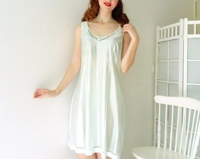 background of pistachio vintage slip dress / Vintage petticoat nightie pistachio