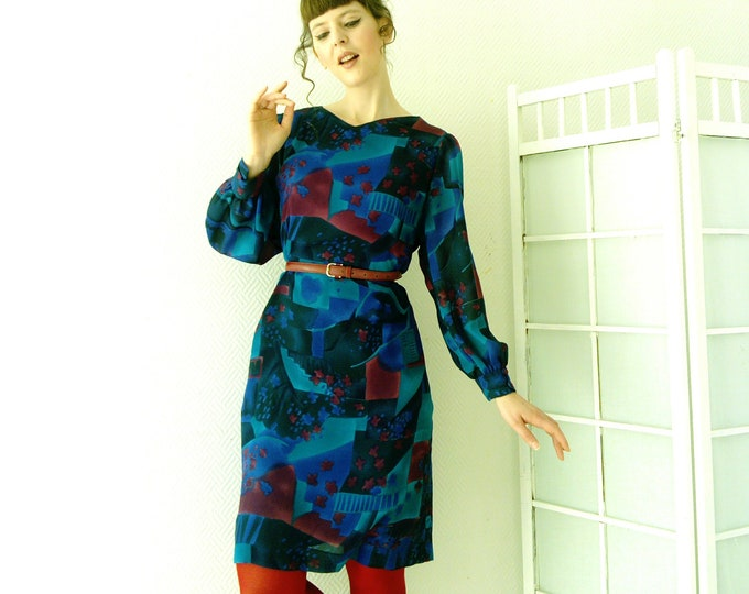 Blue psychedelic dress 70s style's / 70's style blue plsychedelic dress