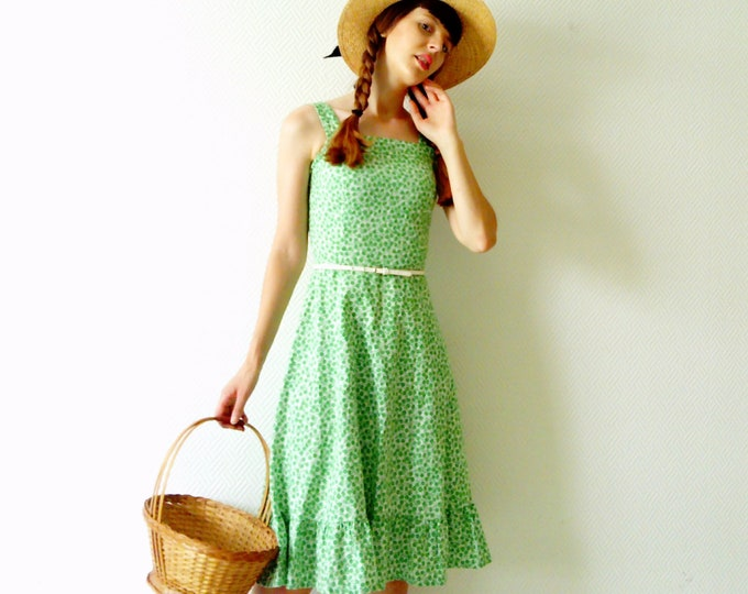 Dress green 70's / 70's dress pinafore