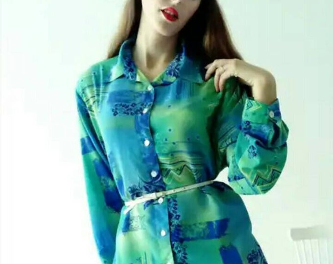 Vintage blue blouse 90/90's blue blouse