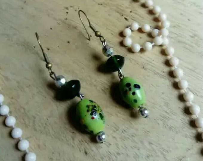 Green blossom earrings earrings