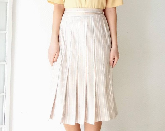 Vintage pleated skirt 50s//50's style vintage stripes pleated skirt