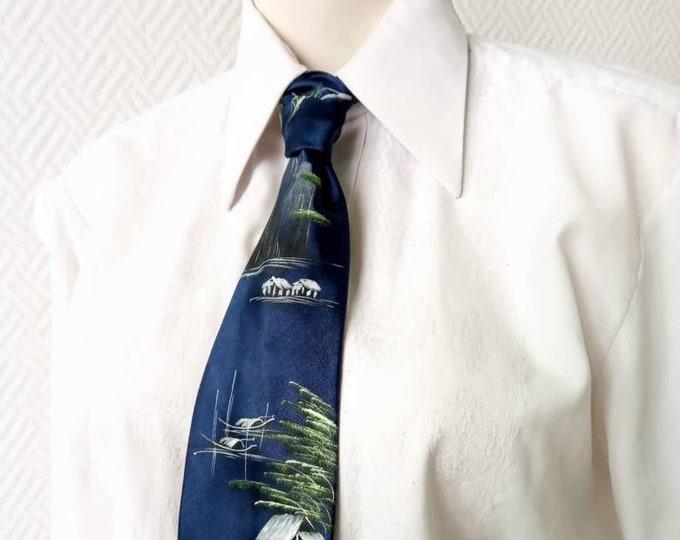 Silk tie painted landscape Japan 90 //1990's silk hand painted Japan landscape print tie