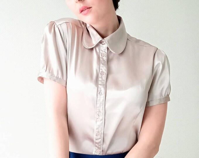 Vintage blouse collar claudine beige satin 90s //1990's satin vintage claudine collar beige shirt