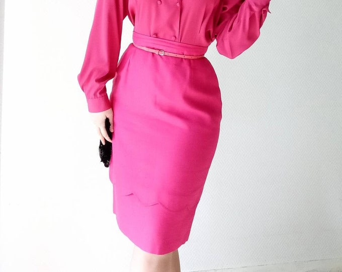 Vintage fushia 60s style skirt //60's vintage fushia skirt style